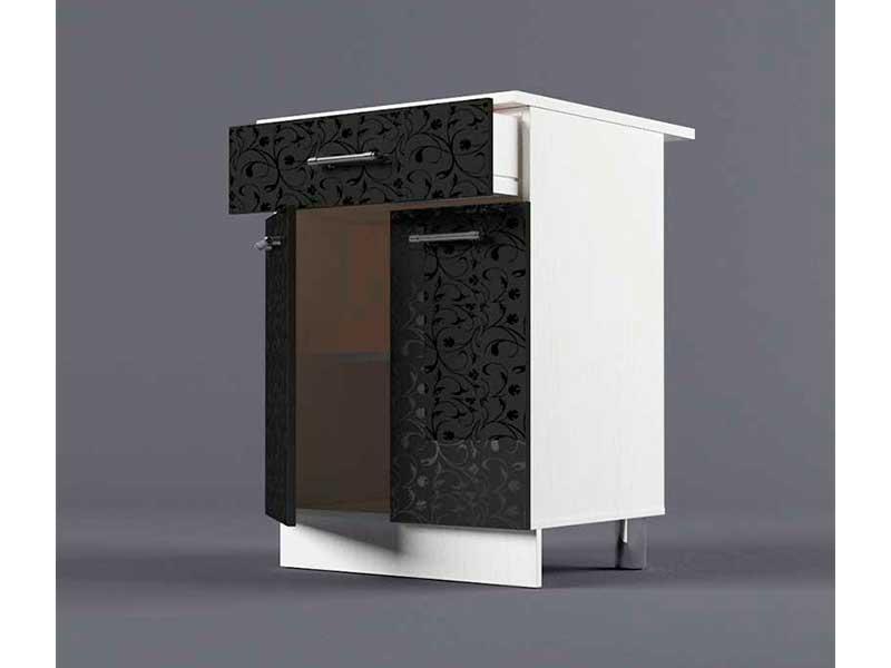 Шкаф напольный Н600 1ящ 2дв 850х600х600 Черные цветы