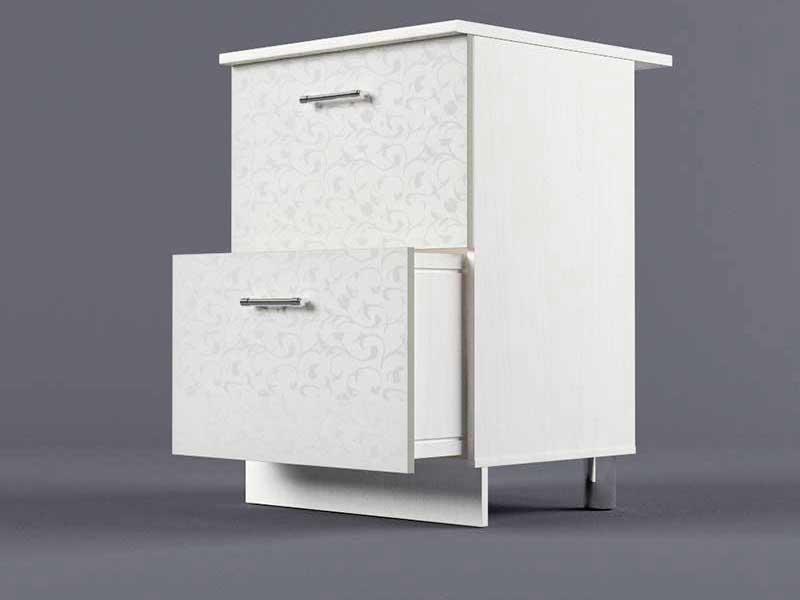 Шкаф напольный Н600 2ящ 850х600х600 Белые цветы