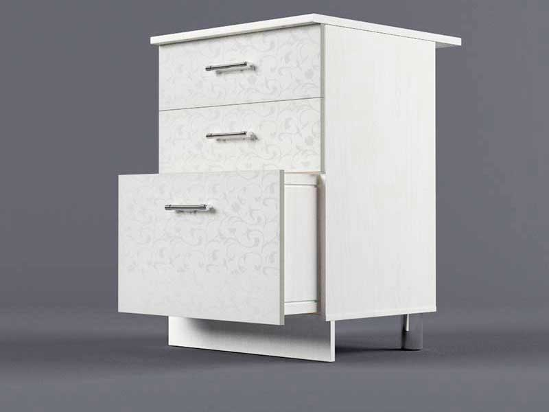 Шкаф напольный Н600 3ящ 850х600х600 Белые цветы