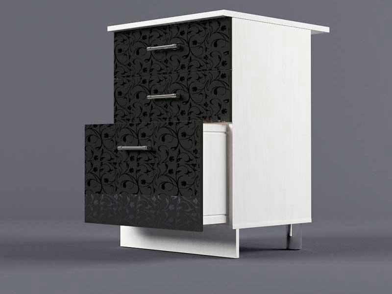 Шкаф напольный Н600 3ящ 850х600х600 Черные цветы