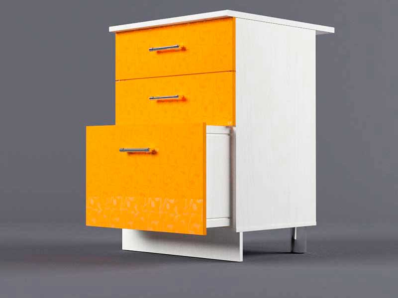 Шкаф напольный Н600 3ящ 850х600х600 Оранжевый