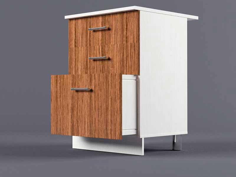 Шкаф напольный Н600 3ящ 850х600х600 Бодега темная