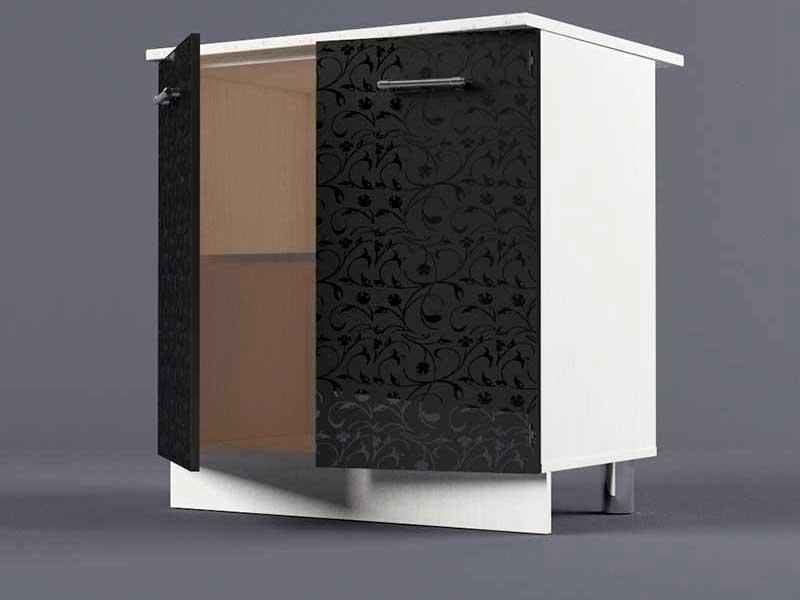 Шкаф напольный Н800 2дв 850х800х600 Черные цветы