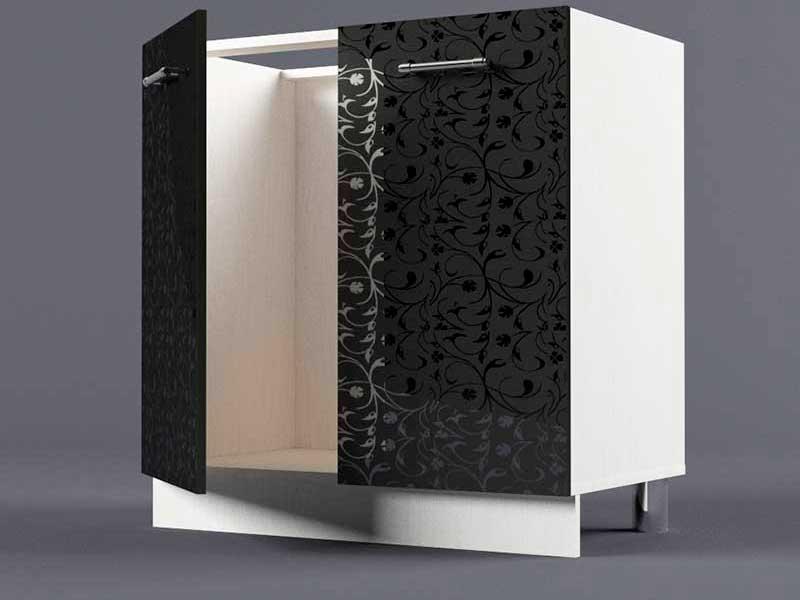 Шкаф напольный Н800 2дв под мойку 850х800х600 Черные цветы