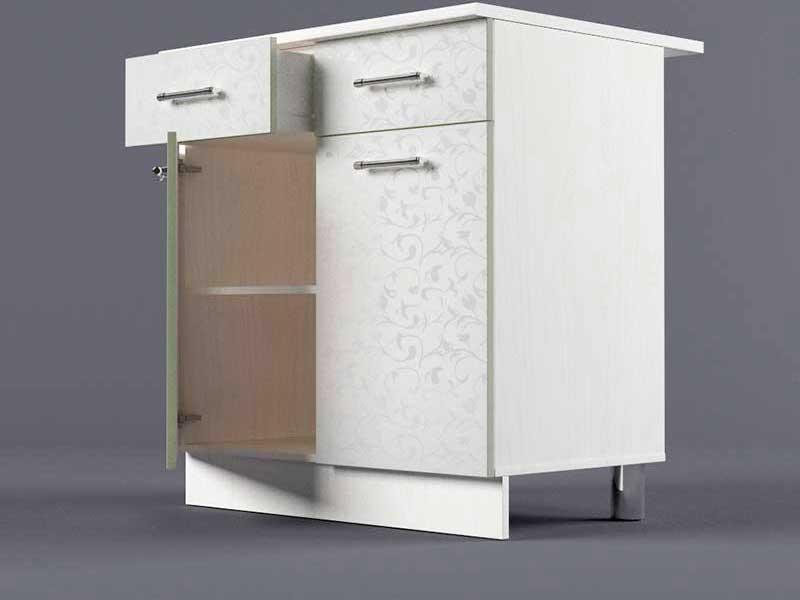 Шкаф напольный Н800 2ящ 2дв 850х800х600 Белые цветы