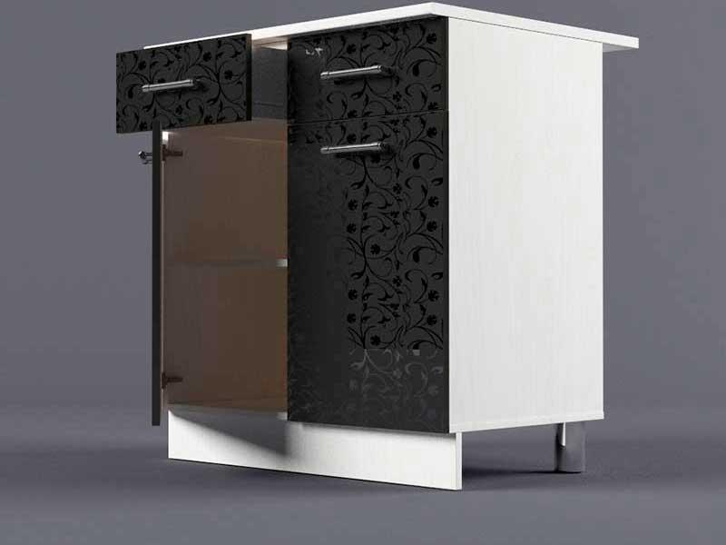 Шкаф напольный Н800 2ящ 2дв 850х800х600 Черные цветы