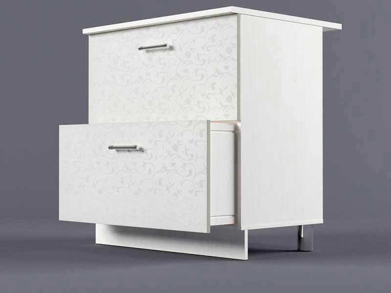 Шкаф напольный Н800 2ящ 850х800х600 Белые цветы