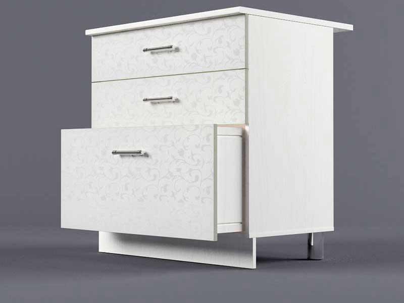 Шкаф напольный Н800 3ящ 850х800х600 Белые цветы