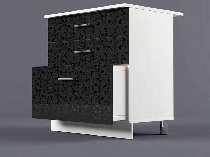Шкаф напольный Н800 3ящ 850х800х600 Черные цветы