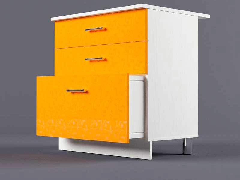 Шкаф напольный Н800 3ящ 850х800х600 Оранжевый