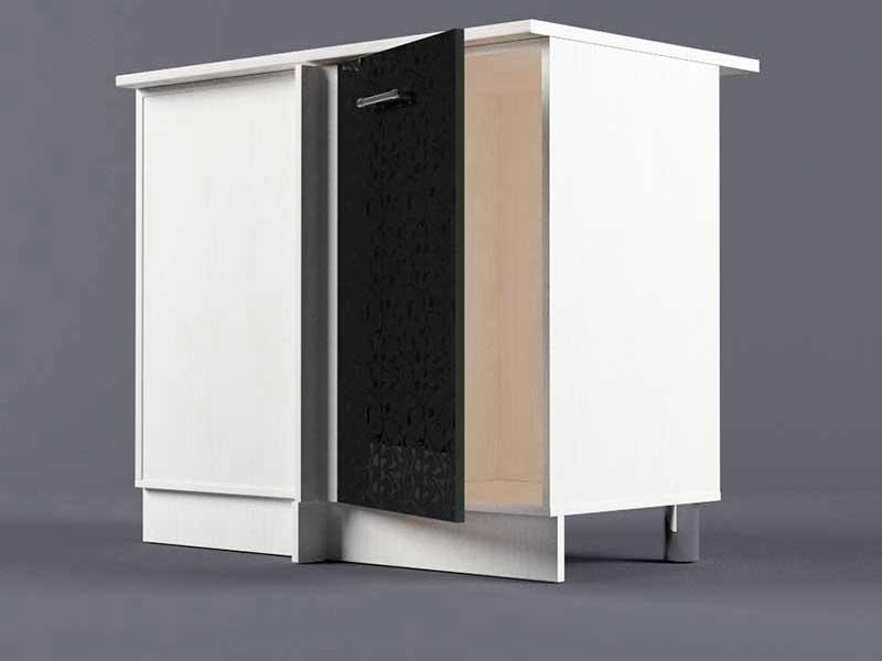 Шкаф напольный НУ1000 1дв угол левый 850х1000х600 Черные цветы