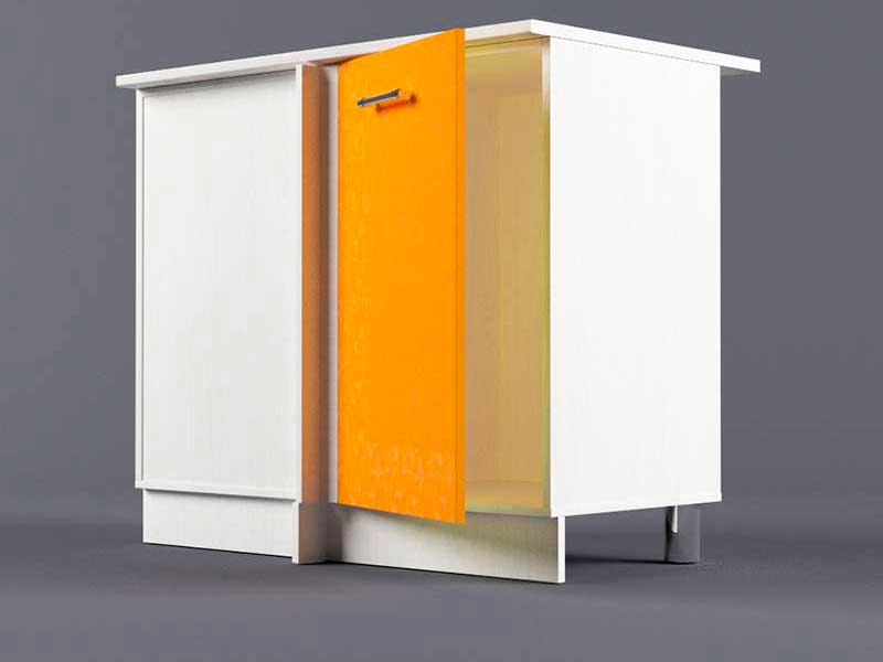 Шкаф напольный НУ1000 1дв угол левый 850х1000х600 Оранжевый