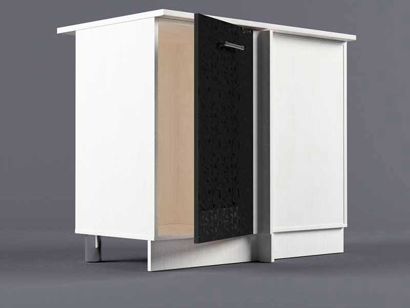 Шкаф напольный НУ1000 1дв угол правый 850х1000х600 Черные цветы