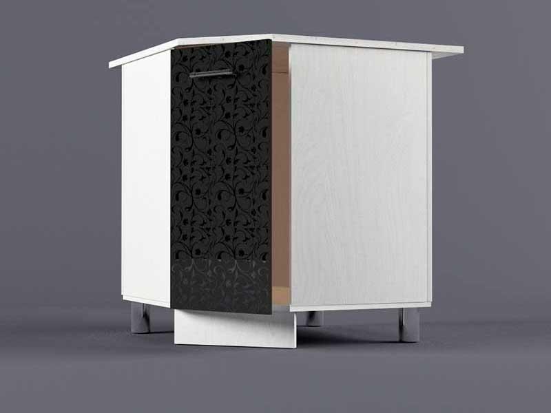 Шкаф напольный НУ800х800 1дв 850х800-800х600 Черные цветы