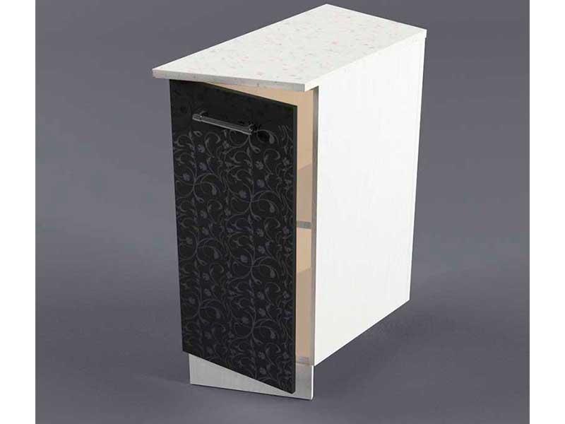 Шкаф напольный НУЗ 300 1дв скошеный правый 550 850х300х600 Черные цветы