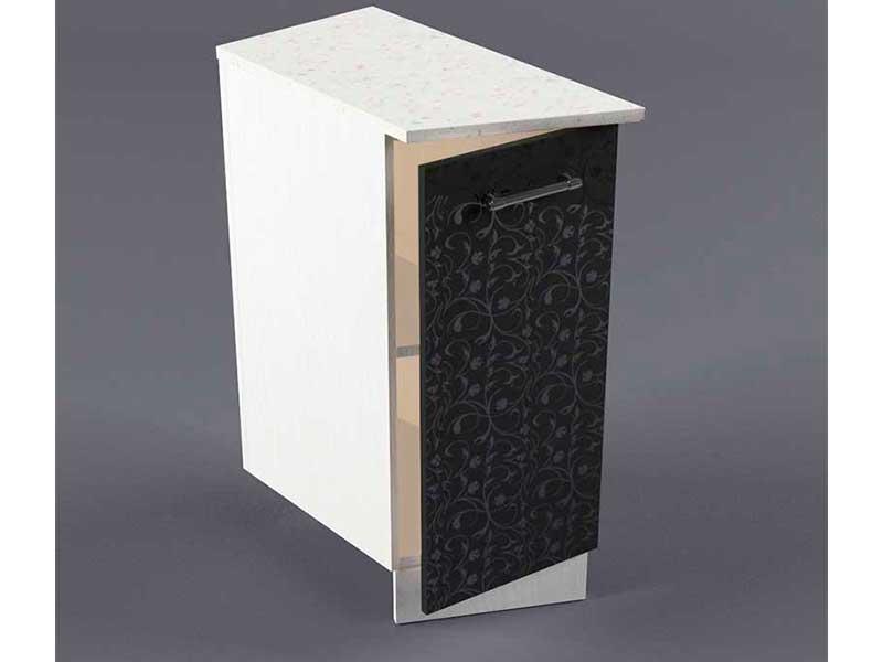 Шкаф напольный НУЗ 300 1дв скошеный левый 550 850х300х600 Черные цветы