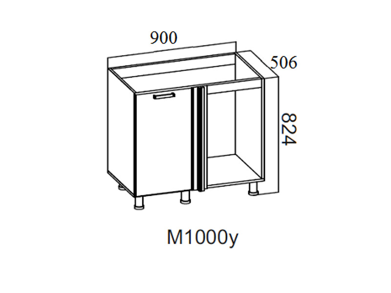 Стол-рабочий угловой 1000 под мойку М1000у Левый 824х900х506-600мм