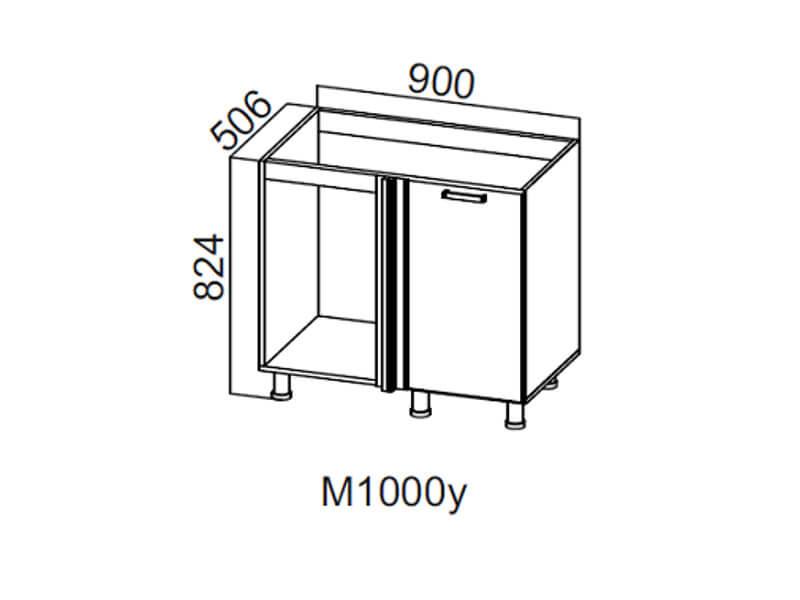 Стол-рабочий угловой 1000 под мойку М1000у Правый 824х900х506-600мм