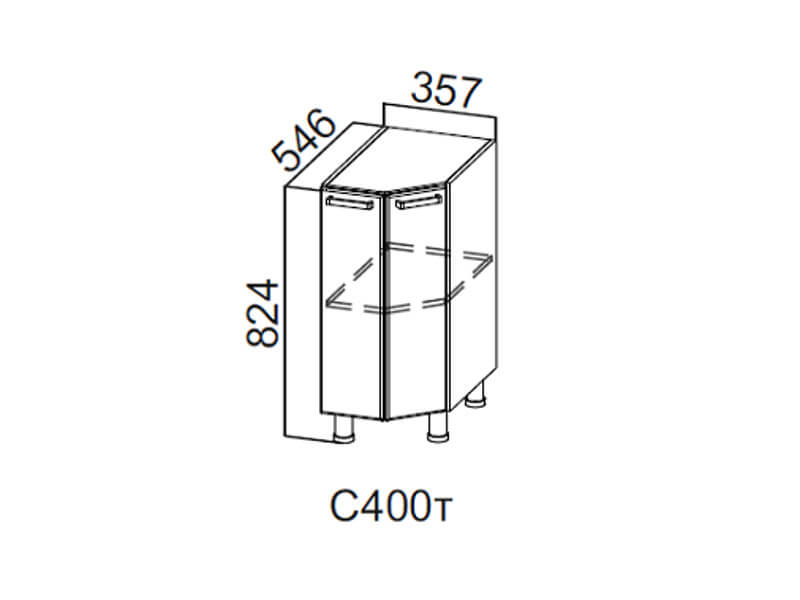 Стол-рабочий торцевой 400 С400т 824х357х546мм