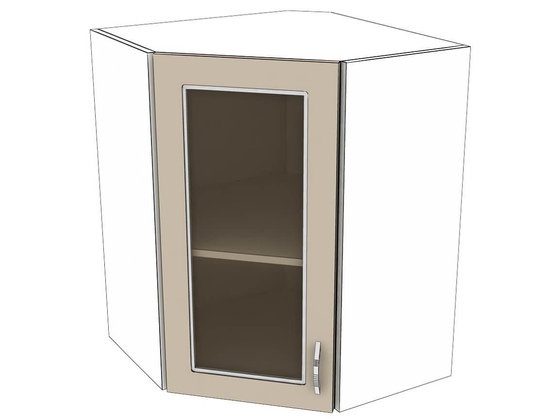 Шкаф навесной угловой со стеклом 600-600