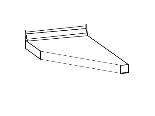 Столешница торцевая левая ПФК 14.30лев Слоновая кость 300х600х38