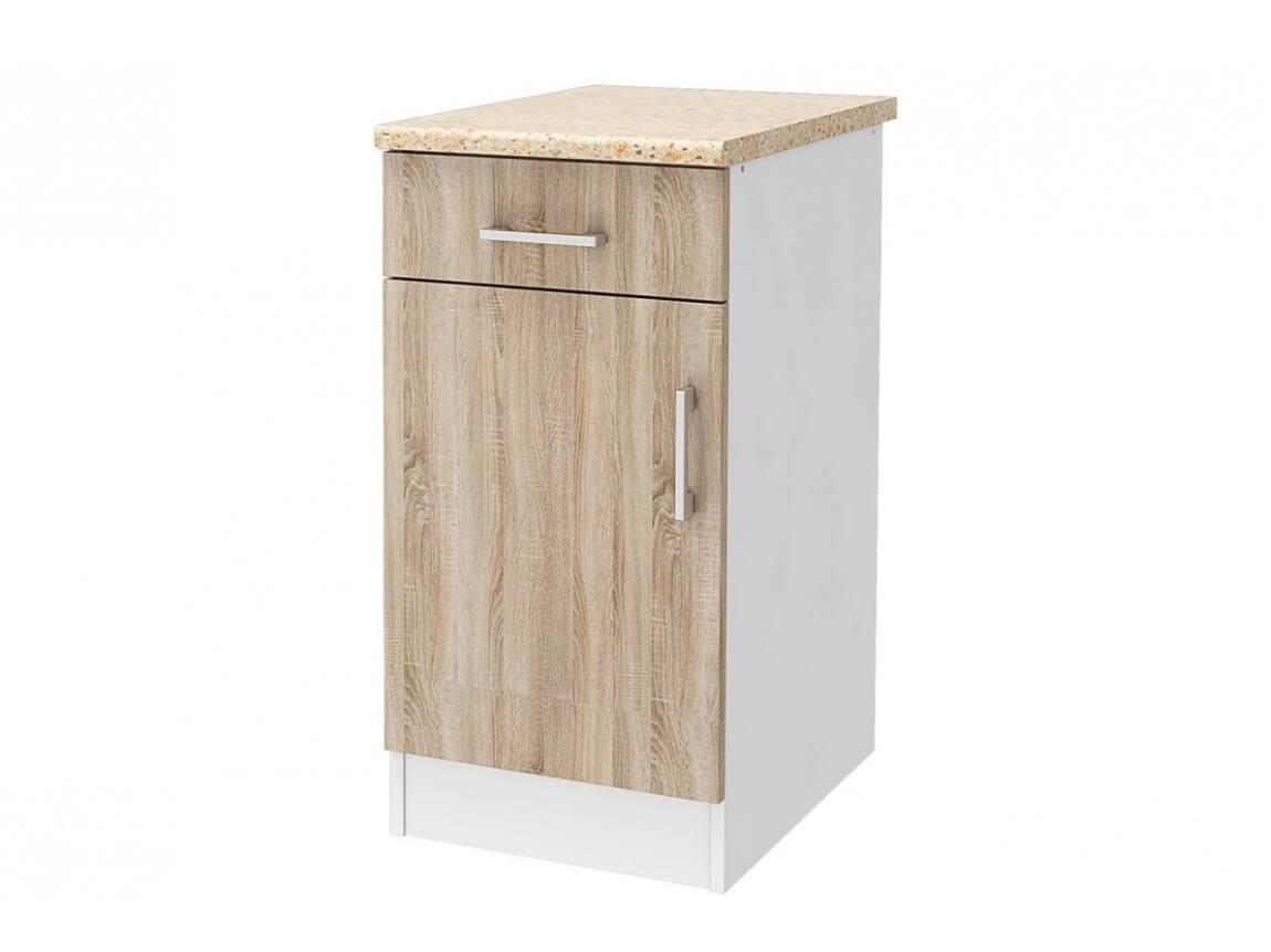 СТЛ.275.03 Шкаф напольный 40 со столешницей Белый-Дуб сонома