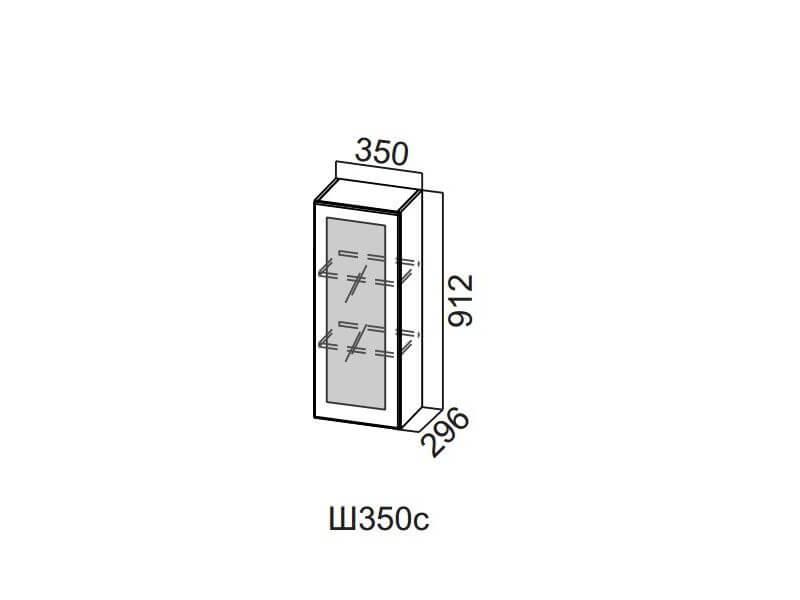 Шкаф навесной со стеклом 350 Ш350с 912х350х296мм