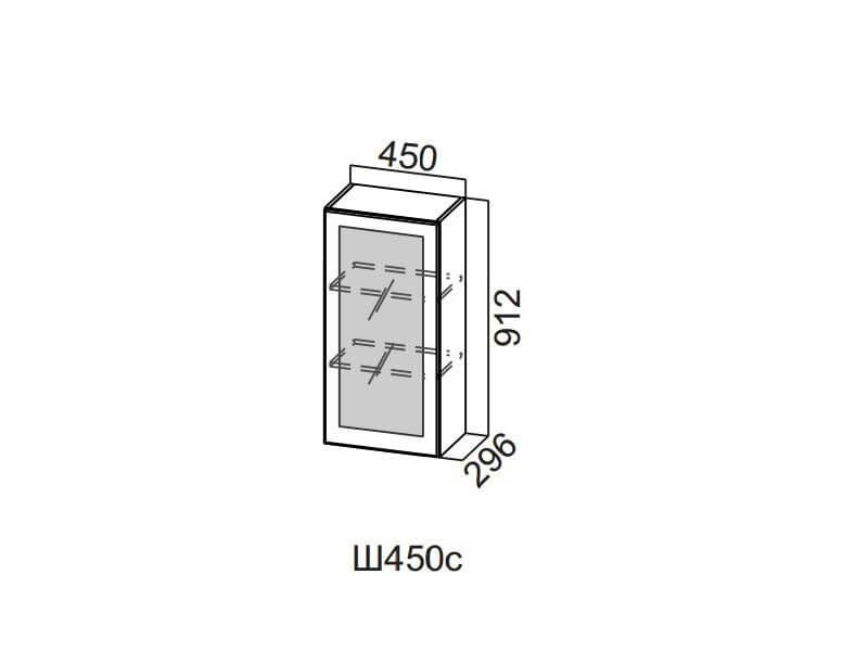 Шкаф навесной со стеклом 450 Ш450с 912х450х296мм