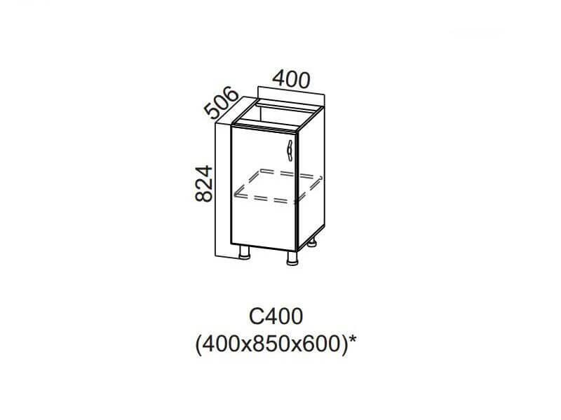 Стол-рабочий 400 С400 824х400х506-600мм