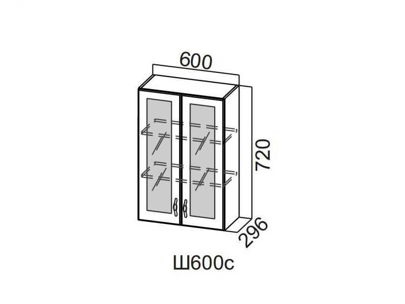 Шкаф навесной со стеклом 600 Ш600с-720 720х600х296мм