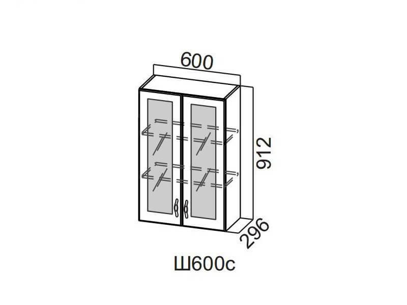 Шкаф навесной со стеклом 600 Ш600с-912 912х600х296мм