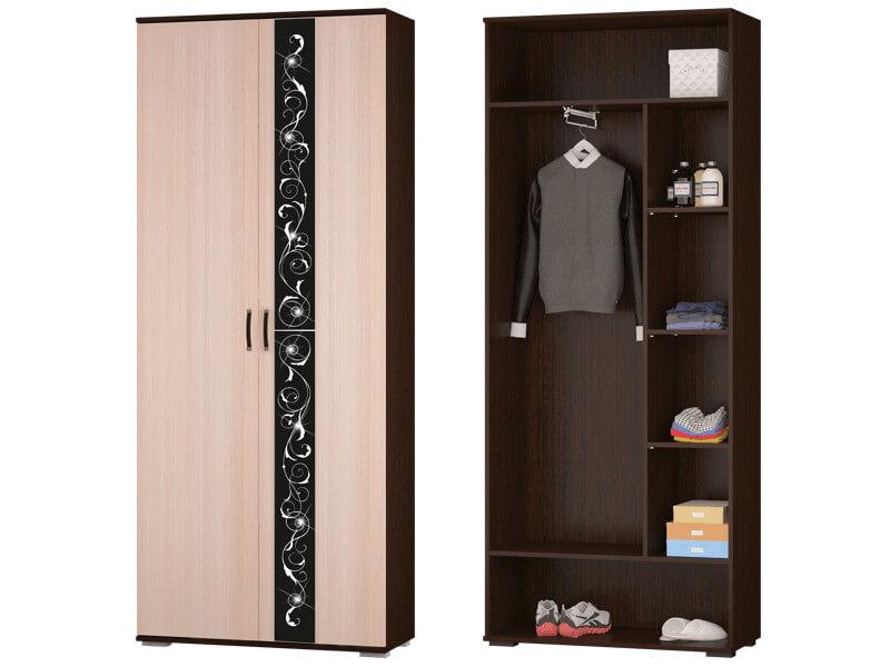Шкаф для платья и белья с выдвижной штангой 900x2196x384 мм