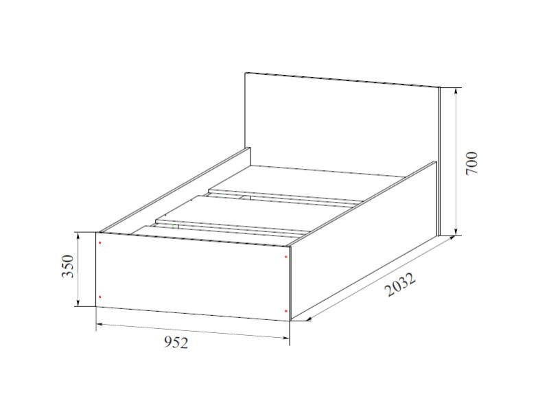 Кровать одинарная 900 900х700х2032