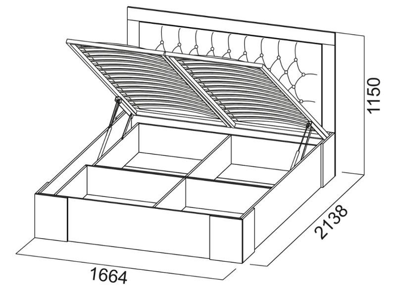 Кровать двойная 1600 с ПМ 1664х1150х2138