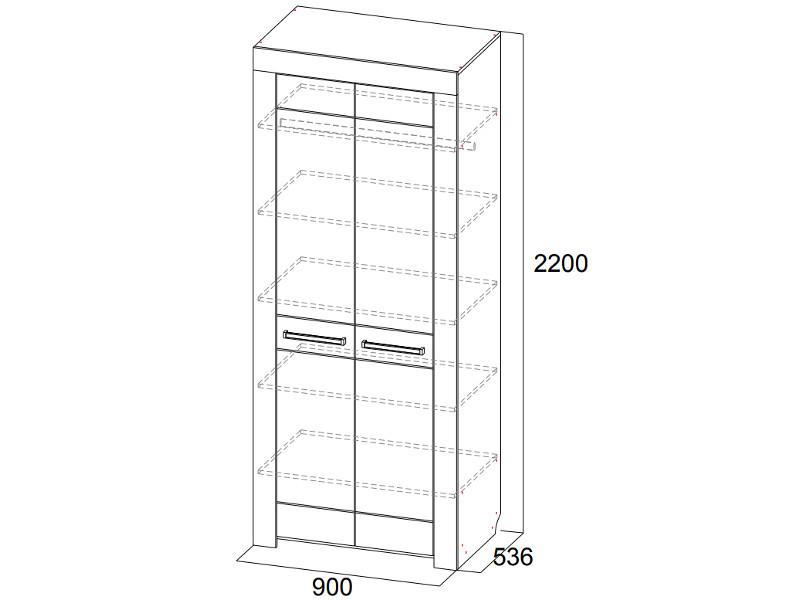 Шкаф двухстворчатый 900х2200х536