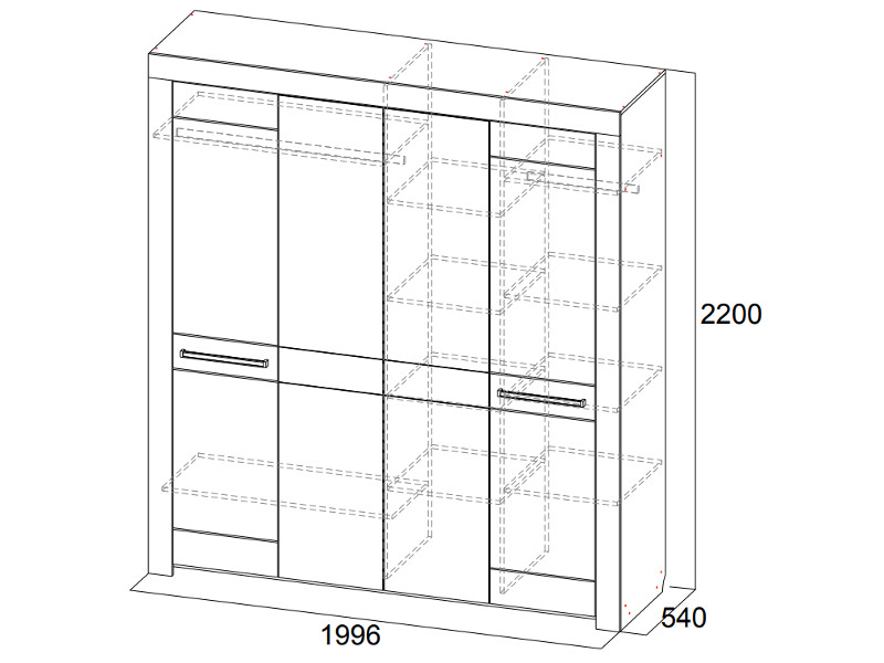 Шкаф для платья и белья четырехстворчатый 1996х2200х540