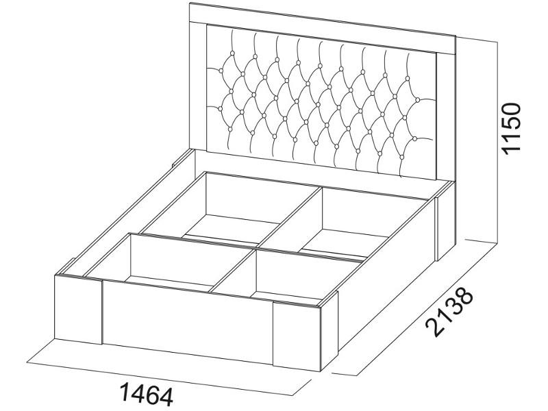 Кровать двойная 1400 с основанием 1464х1150х2138
