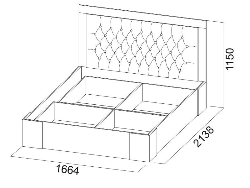 Кровать двойная 1600 с основанием 1664х1150х2138