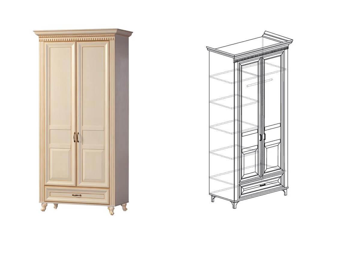 471 Шкаф для одежды 2-дверный 1023х2216х532 мм