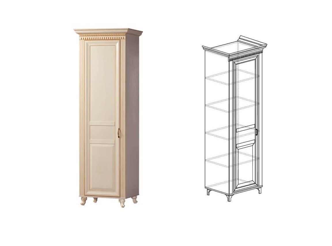 472 Шкаф для одежды 1-дверь 642х2216х532 мм