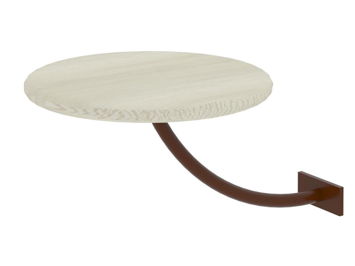 Полка прикроватная круглая белая-металл коричневый