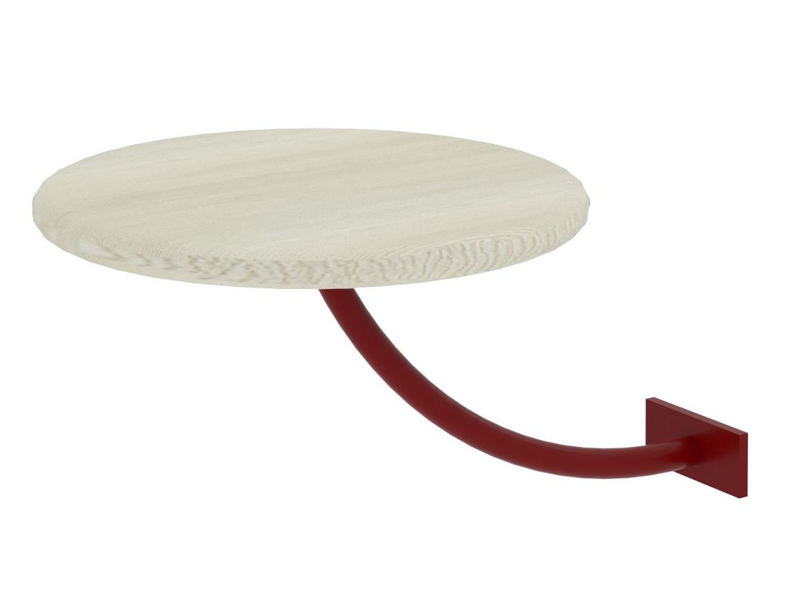 Полка прикроватная круглая белая-металл красный