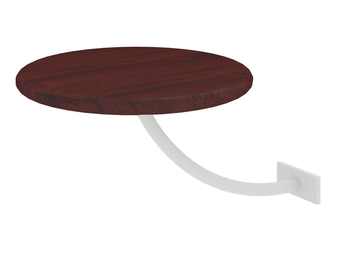Полка прикроватная круглая коричневая-металл белый