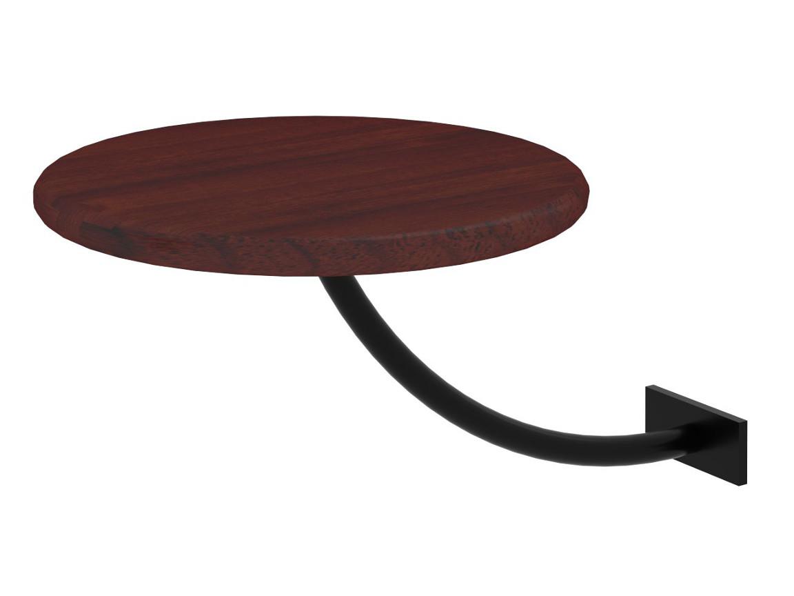 Полка прикроватная круглая коричневая-металл черный