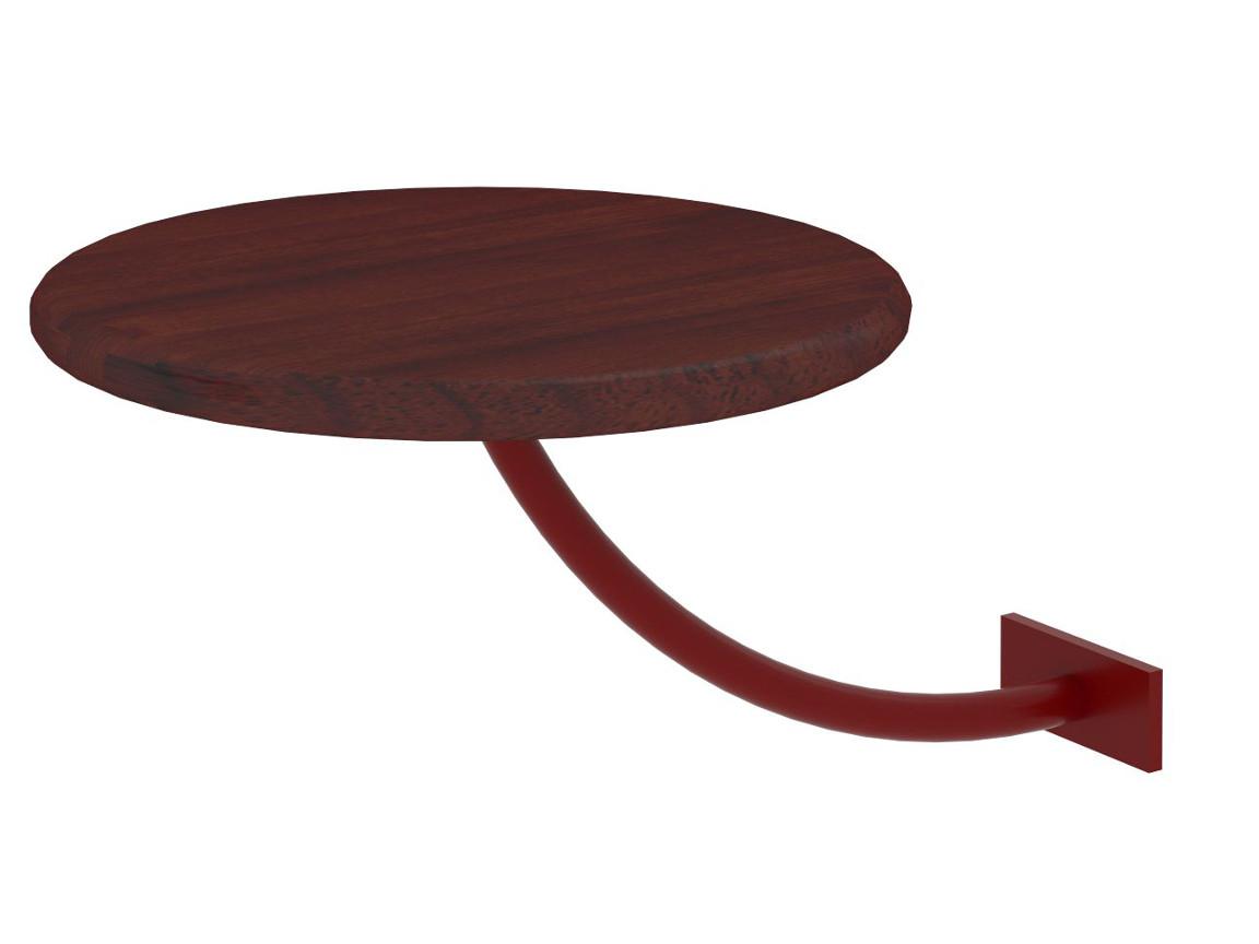 Полка прикроватная круглая коричневая-металл красный