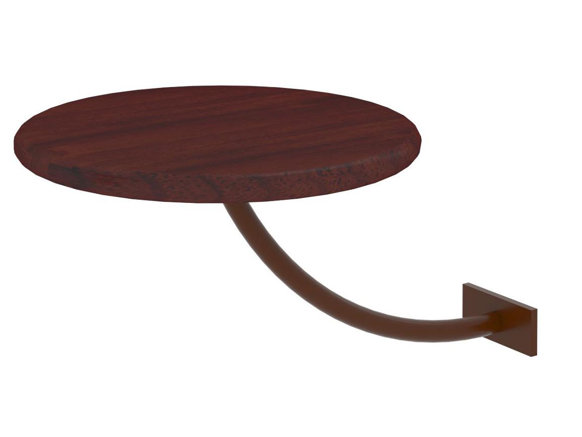 Полка прикроватная круглая коричневая