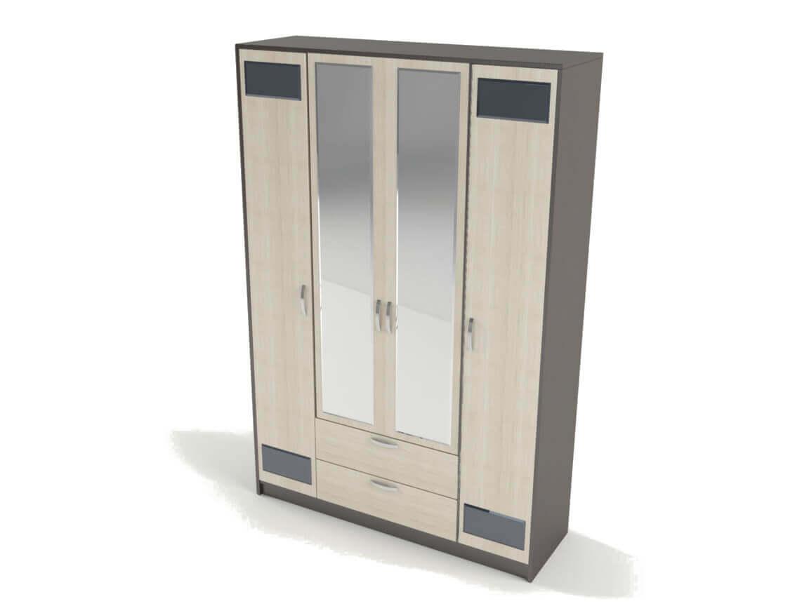 Шкаф 4-х створчатый с зеркалом 2270х1500х450 мм