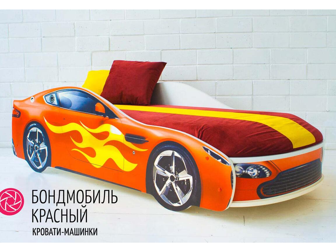 фото Кровать-машина Бондмобиль красный