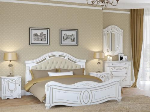 Спальня Александрина белый-патина золото
