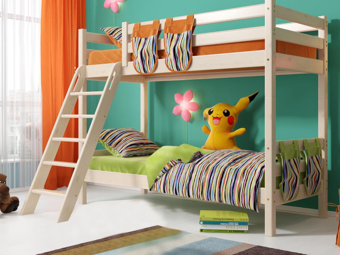 фото Двухъярусная кровать Соня с наклонной лестницей No 10